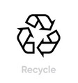 recycle line icon recycling sign isolated vector image