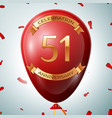 red balloon with golden inscription 51 years vector image vector image