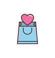 romantic passion love flat line vector image