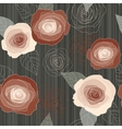 Seamless roses pattern on dark green vector image
