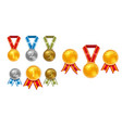set champion gold silver and bronze award medals vector image vector image