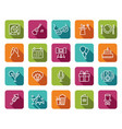 set party related line icons vector image