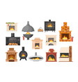 set traditional and modern fireplaces indoor vector image