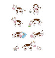 set with cute cartoon cow farm animals vector image vector image