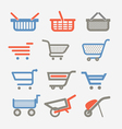 Shopping carts and trolleys vector image