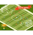 Soccer game Football field and players vector image
