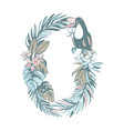 summer pattern hand drawn letter o palm leaves vector image vector image