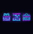 summer sales neon banners collection vector image