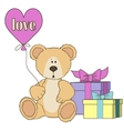 Teddy Bear gift boxes and balloones vector image vector image