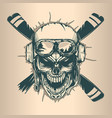 vintage pilot skull monochrome hand drawn tatoo vector image
