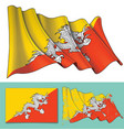 waving flag of bhutan vector image vector image