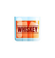 whiskey icon scotch brandy glass ice cube vector image vector image