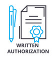 written authorization thin line icon sign symbol vector image