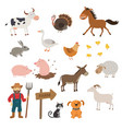 cute farm animals set in flat style isolated on vector image