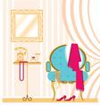 Vintage ladies dressing room interior background vector image
