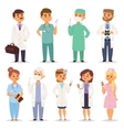Different doctors charactsers set vector image