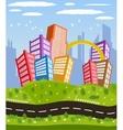 Cartoon downtown road landscape vector image
