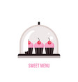 cute delicious pink cupcakes with cherry on top vector image