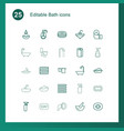25 bath icons vector image vector image