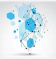 bauhaus art 3d modular blue wallpaper made using vector image vector image