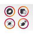 birds icons social media speech bubble vector image