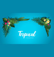 blue tropical frame vector image vector image