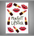 card with lips and lipsticks vector image vector image