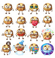 cartoon choc chip cookie characters 2 vector image vector image