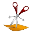Cartoon scissors cut yellow paper vector image vector image