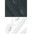 chains and sprockets drawings vector image