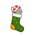 Christmas and New Year decorative sock with sweets vector image