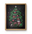 christmas tree with gifts on chalkboard vector image