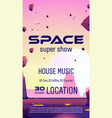 club party with space music show flyer vector image vector image