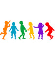colored kids silhouettes playing on white vector image