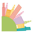 colors round city builds icon vector image