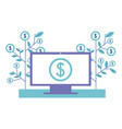 computer monitor with symbol dollar and plants vector image