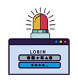 computer window with password and siren on vector image vector image