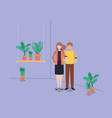couple with houseplants in shelf vector image vector image
