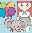 cute and little elephant with girl vector image vector image