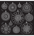 ethnic christmas baubles set black vector image vector image