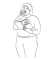 fat girl eat burger and reads book about how to vector image