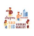 flat banner lettering set designer face id vector image