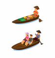 floating market traditional selling food on boat vector image vector image