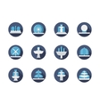 Fountains blue round flat color icons vector image vector image