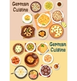 German cuisine dinner icon set for menu design vector image