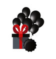 gift box balloons and label vector image vector image