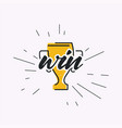 grunge cup prize to winner sport competition vector image