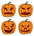 halloween pumpkins carved face with emotions vector image vector image