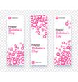 happy valentine day banner set vertical card vector image vector image