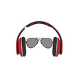 headphones and sunglasses vector image vector image